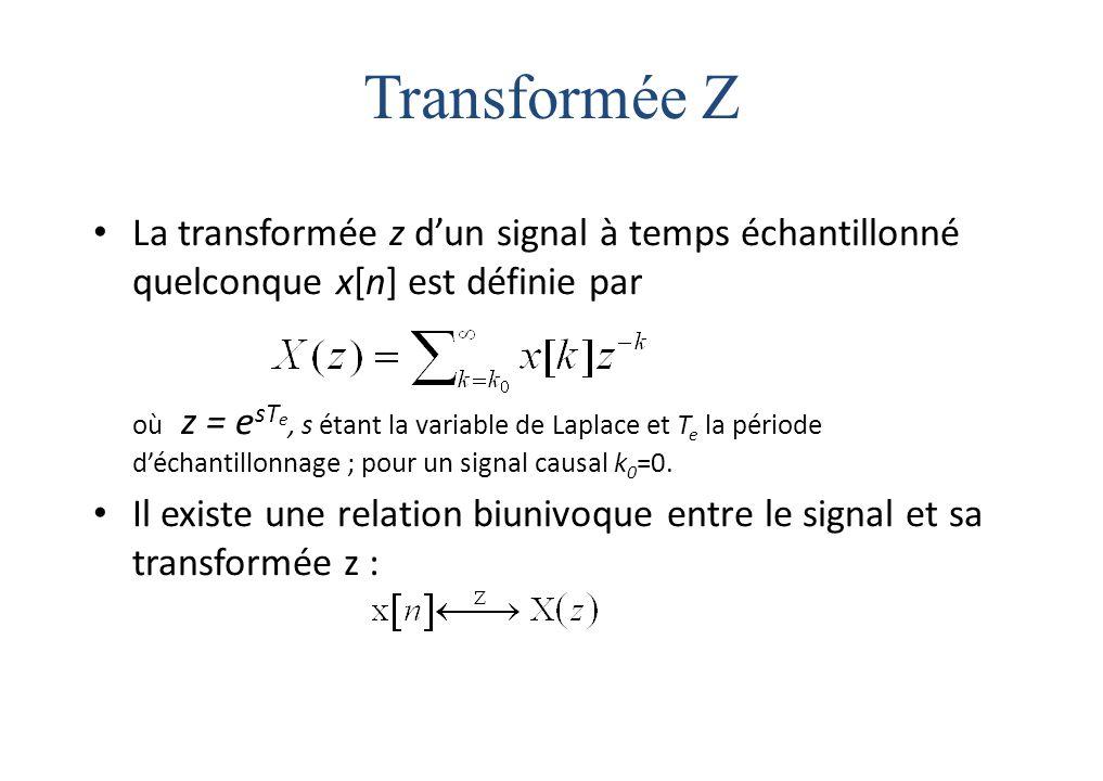 Transformée Z La transformée z d'un signal à temps échantillonné quelconque x[n] est définie par.